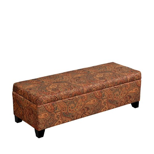 Handy Living Hinged Bench Storage Ottoman in Paisley (Ottoman Burgundy)