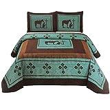 Western Peak Praying Cowboy Horse Barb Wire Star Cabin Lodge Luxury Quilt Bedspread Coverlet Comforter 3 Piece Beige Brown Set (Turquoise Queen)