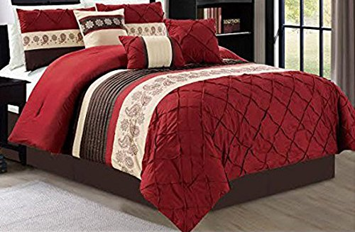 Dovedote 7 Piece Olivia Floral Pleat Comforter Set, Queen, Burgundy