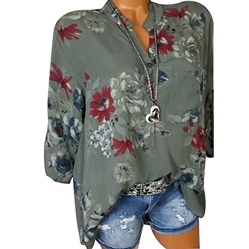 Col Femme la Longues pour iBaste 4xl V Haut Mode Chemise Vert Manches Chemise en Imprime Manches YOB8AwqB