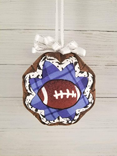Football Quilted Fabric Christmas Ornament