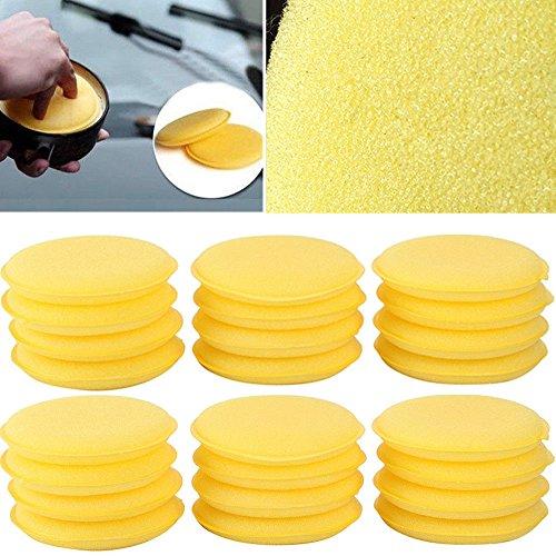 VORCOOL 24pcs amarillo cera cera esponja de espuma Aplicador almohadillas para orejas para orejas coches Vehículo vidrio...