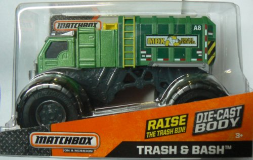 Matchbox On a Mission 1:24 Scale Green Trash & Bash Garbage Monster Truck - Die-cast Body