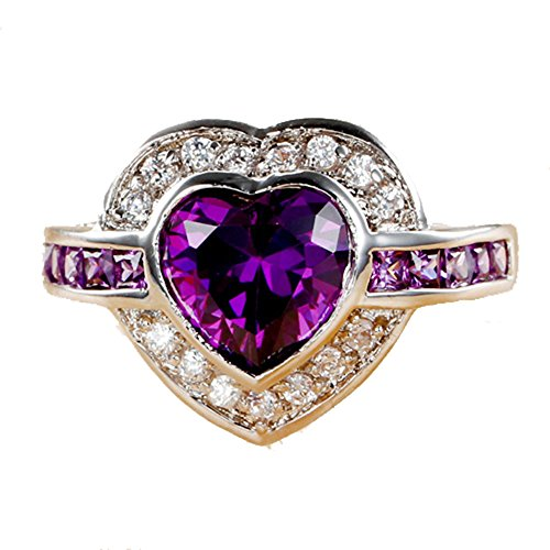 Empsoul Women 925 Sterling Silver Natural Chic Filled Amethyst & White Topaz Heart Shaped Engagement Wedding Ring