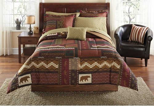 Southwest Cabin Bear Lodge Full Comforter Set (8 Piece Bed In A -