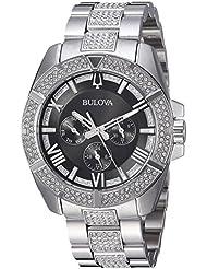 Bulova Mens Swarovski Crystal Quartz Stainless Steel Casual Watch, Color:Silver-Toned (Model: 96C126)