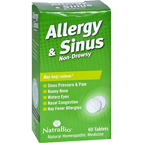 NatraBio Allergy and Sinus Non-Drowsy - 60 - Bio Non Drowsy Allergy Relief Tablets Natra