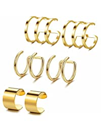 Jstyle 3-6Pairs Stainless Steel Ear Cuff Set Non-Piercing Cartilage Cuff Earring for Women