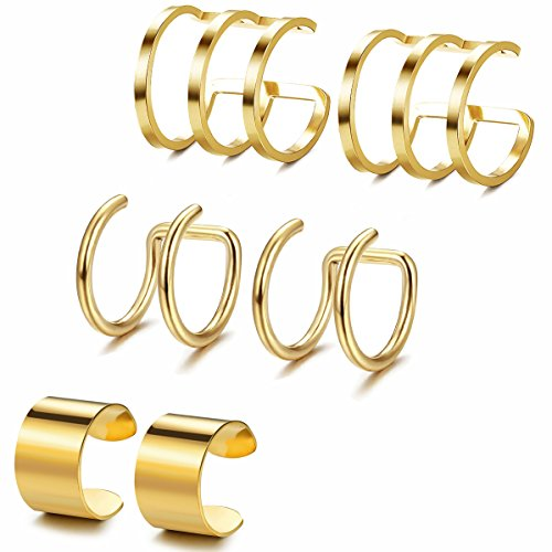 Jstyle 3Pairs Stainless Steel Ear Cuff Set Non-Piercing Cartilage Cuff Earring for Women,G