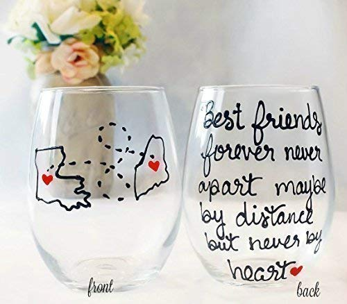 Best Friend Gift For Women | Best Friends Forever Never Apart Maybe By  Distance But Never By Heart | Hand Painted Wine Glass | Long Distance