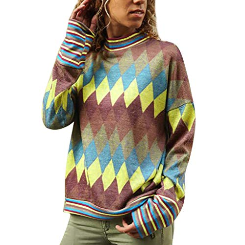 (Womens Long Sleeve Turtleneck Geometric Print T-Shirt Contrast Color Loose Pullover Sweatshirt Tops)