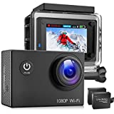 Victure Action Camera 1080P Underwater Cam 30M Waterproof Sports Camera with Rechargeable 1050mAh Batteries and Mounting Accessories