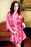 iCollection Women's Satin Robe, Red, Large/X-Large