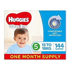 Huggies Ultra Dry Nappies, Boys, Size 5 Walker (13-18kg), 144 Count, One-Month Supply