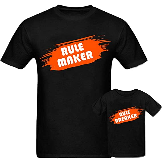 fd616d32b Sprinklecart Rule Maker & Rule Breaker Unique T Shirt | Matching Dad and  Daughter T Shirt Set (Black): Amazon.in: Clothing & Accessories