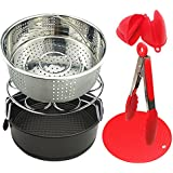 Instant Pot Accessories - 6 PCS Instant Pot Accessories Steamer Basket Egg Steamer Rack Silicone Potholder Mat Non-stick Springform Pan Kitchen Tongs Silicone Mini Mitts Suit for 5,6,8QT Pressure Cook