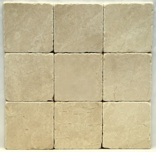 Botticino Fiorito 4 X 4 Tumbled Marble Floor Tile by Oracle ()