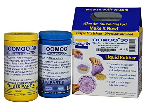Smooth-On Silicone Mold Making, Liquid Rubber OOMOO 30, Easy to Use - Trial Size 2.8 lb (Perfect Reproduction)