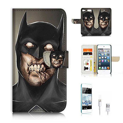 - ( For ipod 6, itouch 6, touch 6 ) Flip Wallet Case Cover & Screen Protector & Charging Cable Bundle! A6689 Zombie Batman