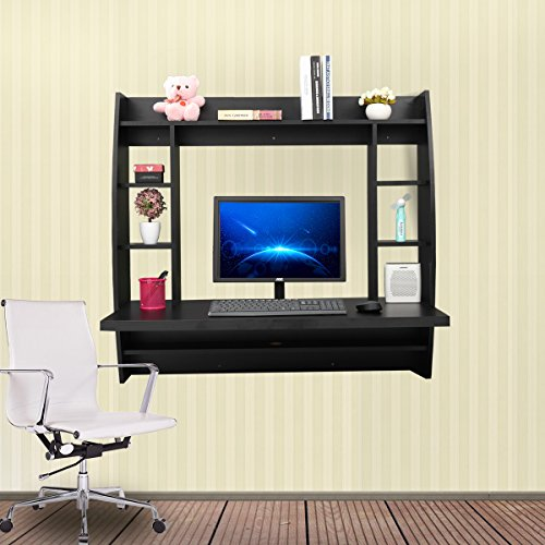 JAXPETY Wall Mounted Floating Computer Desk With Storage Shelves Home Work Station in Black
