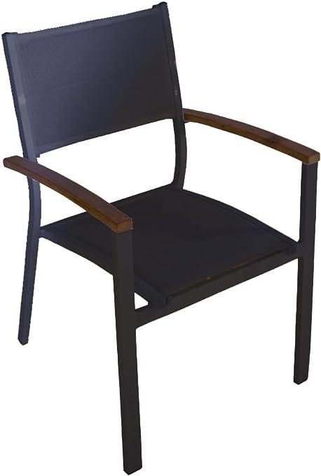 Sedie In Alluminio E Legno.Set Quattro Sedie In Alluminio Con Seduta Nera E Braccioli In