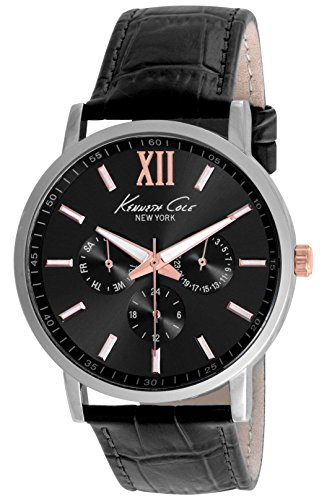 Kenneth Cole New York 10019734 Men's Analog Multifunction Silver-Tone Watch Black Leather Strap