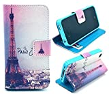 Welity Retro Eiffel Tower PU Leather Wallet Type Magnet Design Flip Case Cover Credit Card Holder Pouch Case for Apple iPhone 4/4S/4G and one gifts