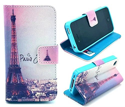 Welity Retro Eiffel Tower PU Leather Wallet Type Magnet Design Flip Case Cover Credit Card Holder Pouch Case for Apple iPhone 4/4S/4G