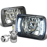 "7X6"" Black Housing Glass Lens Built-In LED Projector Headlight Set of 2 + H7 LED Conversion Kit W/Fan"