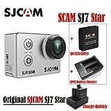 Original SJCAM SJ7Star WiFi 4K 30FPS 2'visualización táctil mando a distancia acción casco deportes DV cámara impermeable Ambarella a12s75Chipset + 1pcs batería extra + 1cargador de batería doble con 16GB (Plateado)