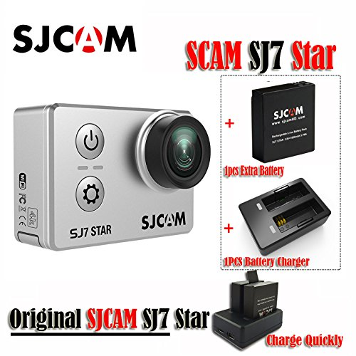 16GB TF Card+Original SJCAM SJ7 Star WiFi 4K 30FPS 2' Touch Screen Remote Action Helmet Sports DV Camera Waterproof Ambarella A12S75 Chipset+1pcs Extra Battery +1pcs Double Charger (Sliver)