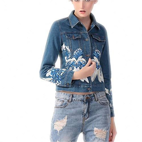 Veste Jeans Femme Autumn And Winter Women Long Sleeve Embroidery Flowers Denim Jacket Denim Blue M