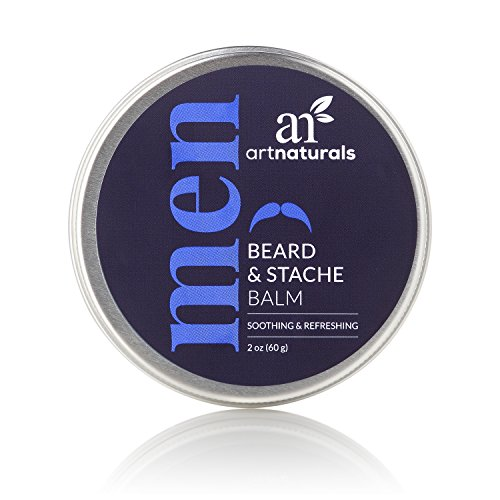 ArtNaturals Mustache and Beard Balm-Wax - 2 oz - Natural Oil Leave In Conditioner that Soothes Itching, Thickens, Strengthens, Softens, Tames and Styles Facial Hair Growth