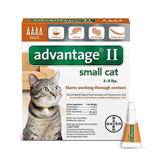Bayer Advantage II Flea Treatment for Small Cats, 5 – 9 lb, 4 doses