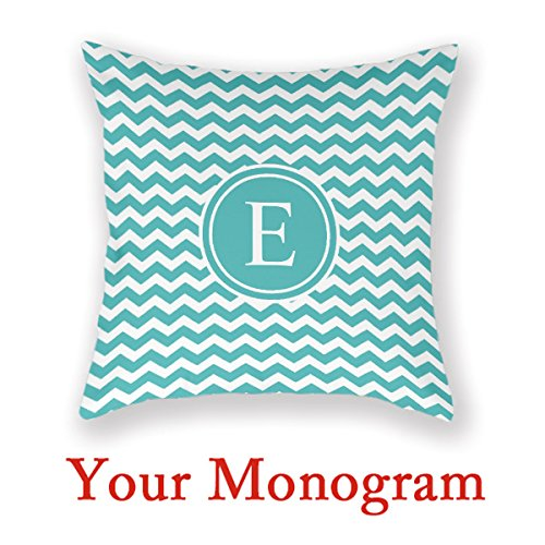 Photo Collage Pillow Teal Personalized Chevron Monogram Throw Pillow Personal Pillow (Collage Throw)
