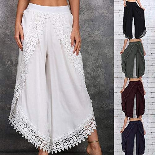 huateng Wide Leg Trousers Women, Ladies Flared Trousers Fashion Elastic Waist Loose Fit Casual Pants Leggings Dark Blue