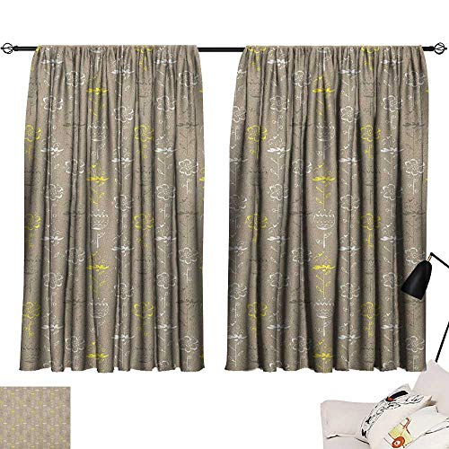 (Warm Family Grey and Yellow Blackout Curtains Hand Drawn Sketchy Tulips Flowers Leaves Butterflies Art Image Darkening and Thermal Insulating 63