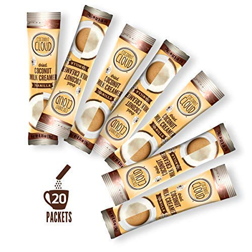 Coconut Cloud: Dairy Free Vanilla Coffee Creamer, Made from Coconut Powder Milk with MCT Oil | Vegan, Plant Based, Non GMO, Gluten & Soy Free (Single Serve To-Go Dairy Free Sticks), 20 servings