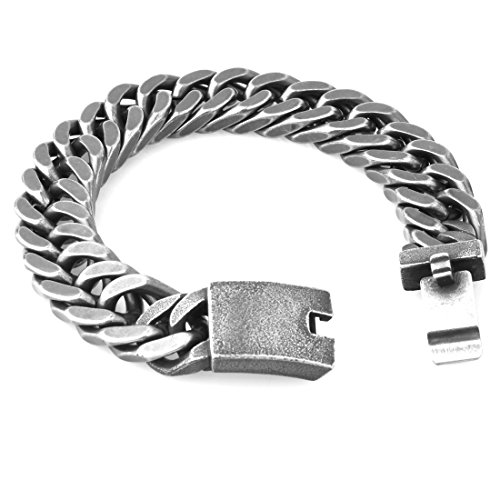 - Mens Xmas Gift Brushed Black Tone Stainless Steel Cuban Curb Link Chain Bracelet 9