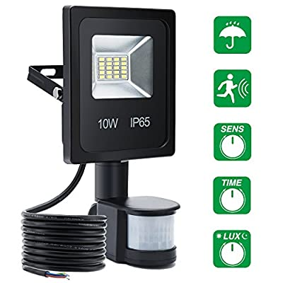 SOLMORE Motion Sensor LED Flood Light 10W Waterproof Security Flood Light 760lm 6500K Outdoor Security Light for Wall Entryways Stairs Yard Garden Pathway and Garage Daylight White