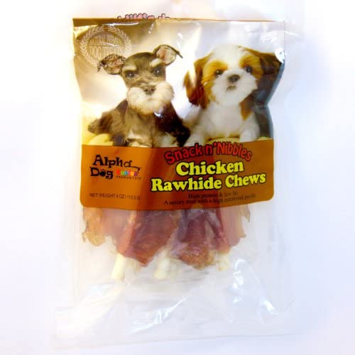 Alpha Dog Series Chicken Rawhide Chews-4oz Pack of 10