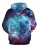 AMOMA Unisex Realistic 3d Digital Print Pullover Hoodie Hooded Sweatshirt (Small/Medium, Galaxy)
