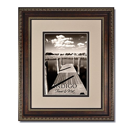 Set of 3 - 16x20 Ornate HeritageBronze Photo Frame with Clear Glass and Oyster/Espresso Double Mat for 11x14 by Heritage Bronze
