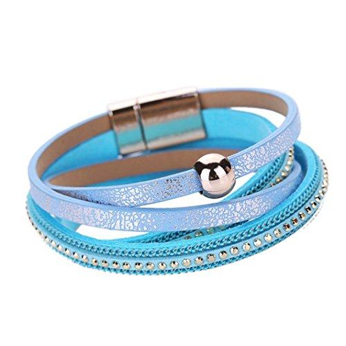 Willsa Women Fashion Bohemian Woven Braided Handmade Magnetic Clasp Bracelet (Blue) (Handcuff 14 Gauge)