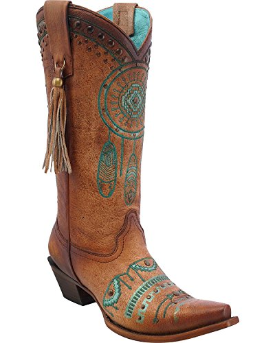 Corral Womens Dreamcatcher Cowgirl Boot Klipp Tå - C2981 Tan