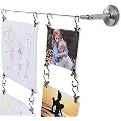 Wall Mount Children's Art Projects Display Stainless Steel Wire Rod with 48 Hanging Clips 16.5 Feet Long