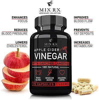 2 Pack  180 Pills Apple Cider Vinegar Capsules w Garcinia Cambogia 1500mg  ACV Tablets  Fiber