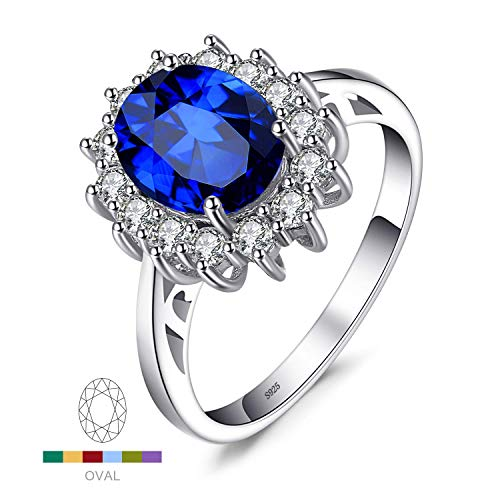 Created Gemstone Lab Rings - JewelryPalace Gemstones Created Blue Sapphire Birthstone Halo Solitaire Engagement Rings for Women for Girls 925 Sterling Silver Ring Princess Diana William Kate Middleton Size 6