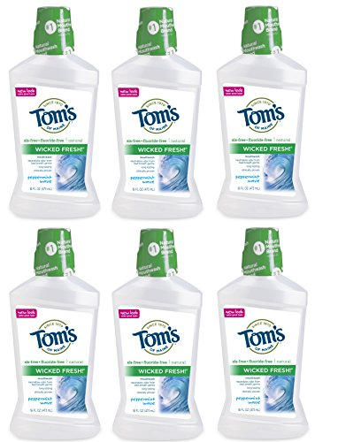 Tom's of Maine Natural Wicked Fresh Mouthwash, Peppermint Wave, 16 Ounce, Pack of 6 (Peppermint Mouthwash)