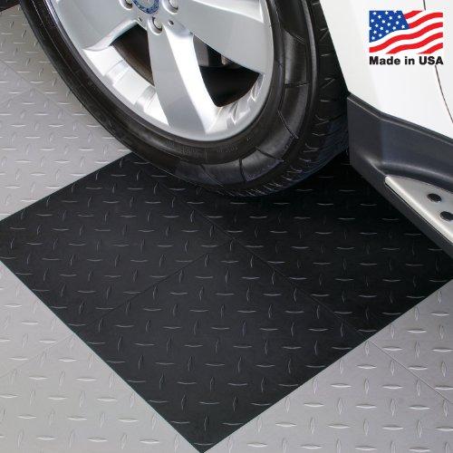 Tiles Diamond Top - ModuTile Garage Flooring Interlocking Tiles, Diamond Top, Black, 27 pack